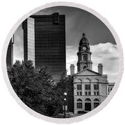 The Tarrant County Courthouse Round Beach Towel