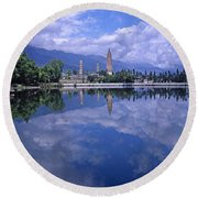 The Three Pagodas Of Dali Round Beach Towel