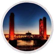 The Tower Bridge At Sunset Round Beach Towel