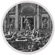 The Trevi Fountain  Round Beach Towel