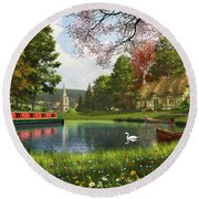 The Valley Cottage Variant 1 Round Beach Towel