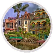 The Venice Canal Historic District Round Beach Towel