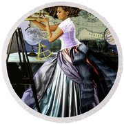 The Victorian Astronomer  Round Beach Towel
