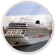 The Viking Star Cruise Liner In Venice Italy Round Beach Towel