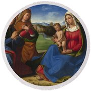 The Virgin And Child Adored By Two Angels Round Beach Towel