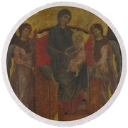 The Virgin And Child Enthroned With Two Angels Round Beach Towel