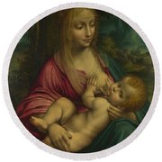 The Virgin And Child Round Beach Towel