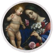 The Virgin And Child With Flowers Round Beach Towel