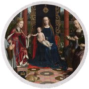 The Virgin And Child With Saints And Donor Round Beach Towel