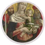 The Virgin And Child With Saints Paul And Jerome Round Beach Towel