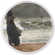 The Watcher, Tynemouth Round Beach Towel