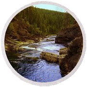 The Yak River Round Beach Towel