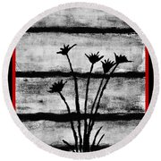 Thistles By The Barn Round Beach Towel
