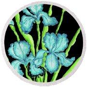 Three  Blue Irises Round Beach Towel