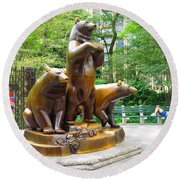 Three Bronze Sculpture Statue Of Bears Great Attraction At New York Ny Central Park By Navinjoshi Round Beach Towel