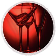 Three Empty Cocktail Glasses On Red Background Round Beach Towel