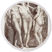 Three Graces Round Beach Towel