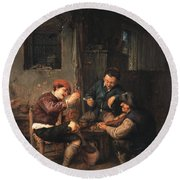 Three Peasants At An Inn Round Beach Towel