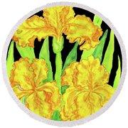 Three Yellow Irises, Painting Round Beach Towel