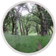 Through The Meadow Round Beach Towel