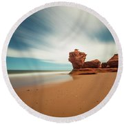 Thunder Cove Sea Arch And Flowerpot Rock Round Beach Towel