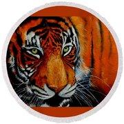Tiger, Tiger Burning Bright... Round Beach Towel