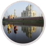 Timeless Taj Mahal Round Beach Towel
