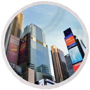 Times Square New York City Round Beach Towel