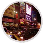 Times Square Night Round Beach Towel