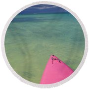 Tip Of Pink Kayak Round Beach Towel