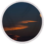 To The Moon Round Beach Towel
