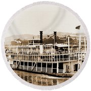 Tom Greene River Boat Round Beach Towel