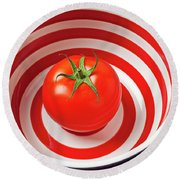 Tomato In Red And White Bowl Round Beach Towel