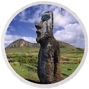 Tongariki Moai On Easter Island Round Beach Towel