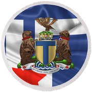 Toronto - Coat Of Arms Over City Of Toronto Flag  Round Beach Towel