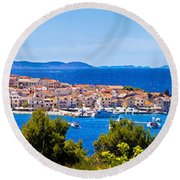 Town Of Primosten Panoramic View Round Beach Towel