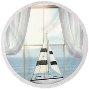 Toy Boat In Window Round Beach Towel