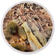 Tracks Of Color In Valley Of Fire Round Beach Towel