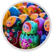 Family Of Mother Russia Matryoshka Dolls Oil Painting Photograph Round Beach Towel