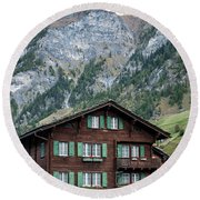 Traditional Swiss Alps Houses In Vals Village Alpine Switzerland Round Beach Towel