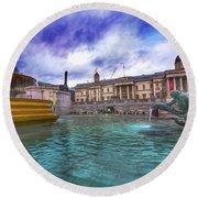 Trafalgar Square Fountain London 5 Art B Round Beach Towel