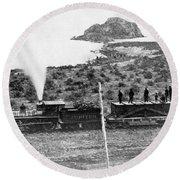 Transcontinental Railroad Round Beach Towel