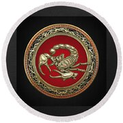 Treasure Trove - Sacred Golden Scorpion On Black Round Beach Towel