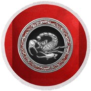 Treasure Trove - Sacred Silver Scorpion On Red Round Beach Towel