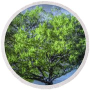 Tree On The Bank Round Beach Towel