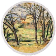 Trees And Houses Near The Jas De Bouffan Round Beach Towel