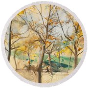 Trees In The Bois De Boulogne Round Beach Towel