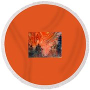 Trees On Red Marbled Paper Round Beach Towel