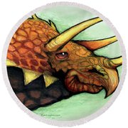 Triceratops Round Beach Towel