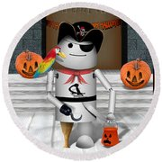 Trick Or Treat Time For Robo-x9 Round Beach Towel